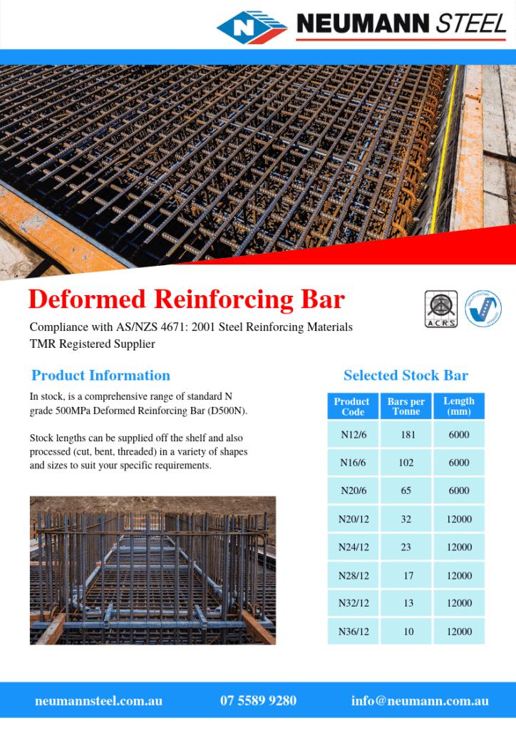 Deformed reinforcing bar product guide