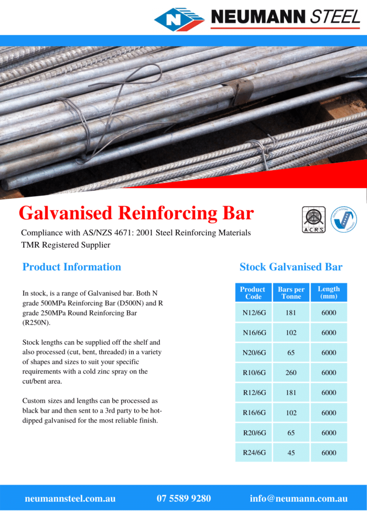 Product Sheet: Galvanised Reinforcing Bar