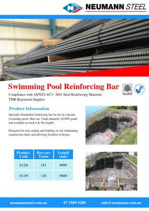 Swimming pool reinforcing bar