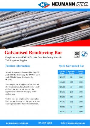 Product Sheet: Galvanised Reinforcing Bar