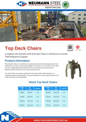 Top Deck Chairs product sheet